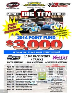 2014 Midwest Big Ten Street Stock Schedule