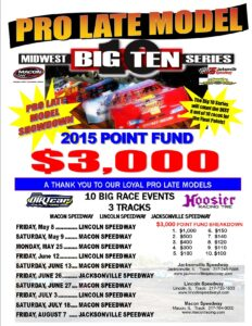 BIG TEN 2015 Pro Late Model schedule