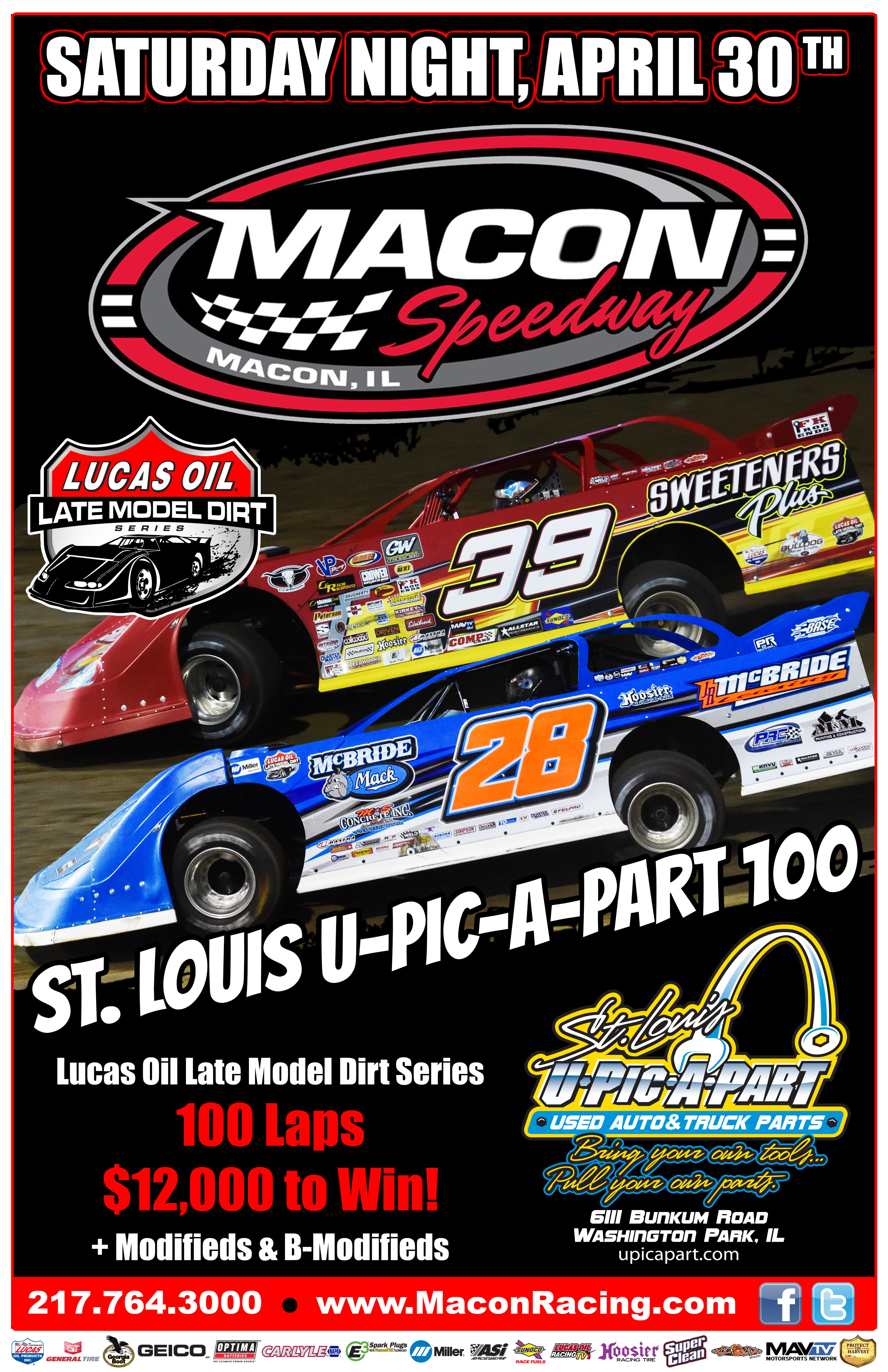 Lucas Oil Late Models Saturday April 30th
