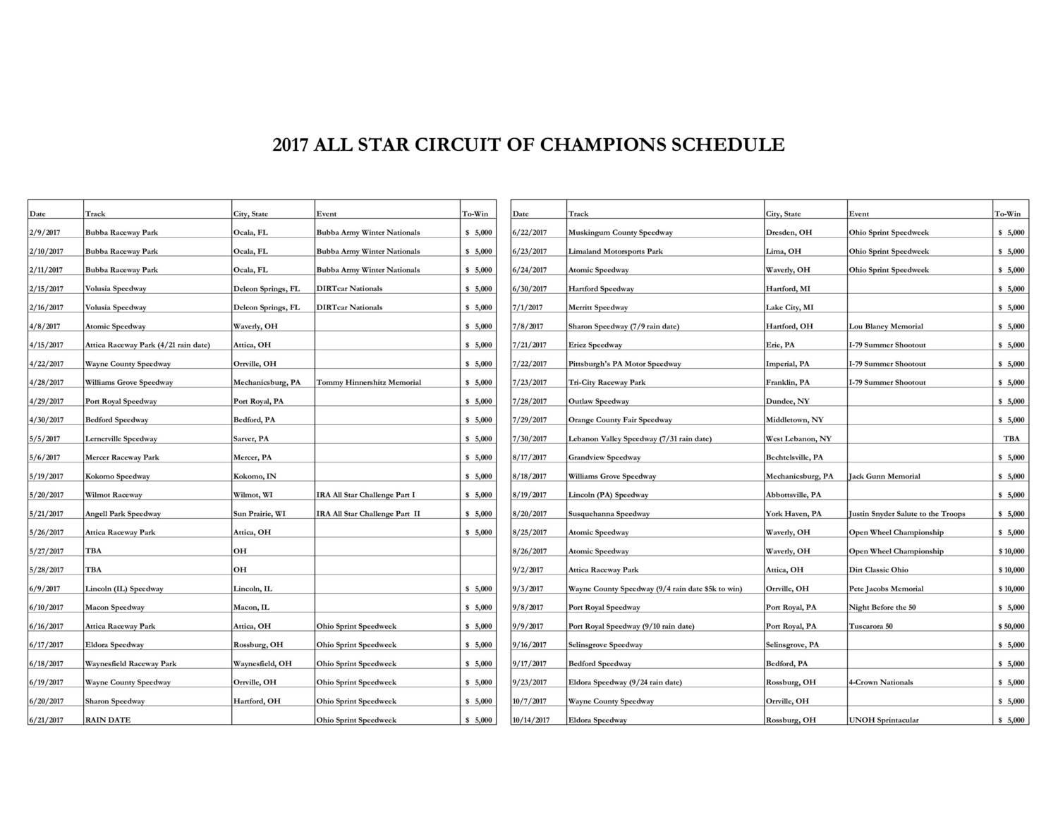 all-star-sprint-schedule