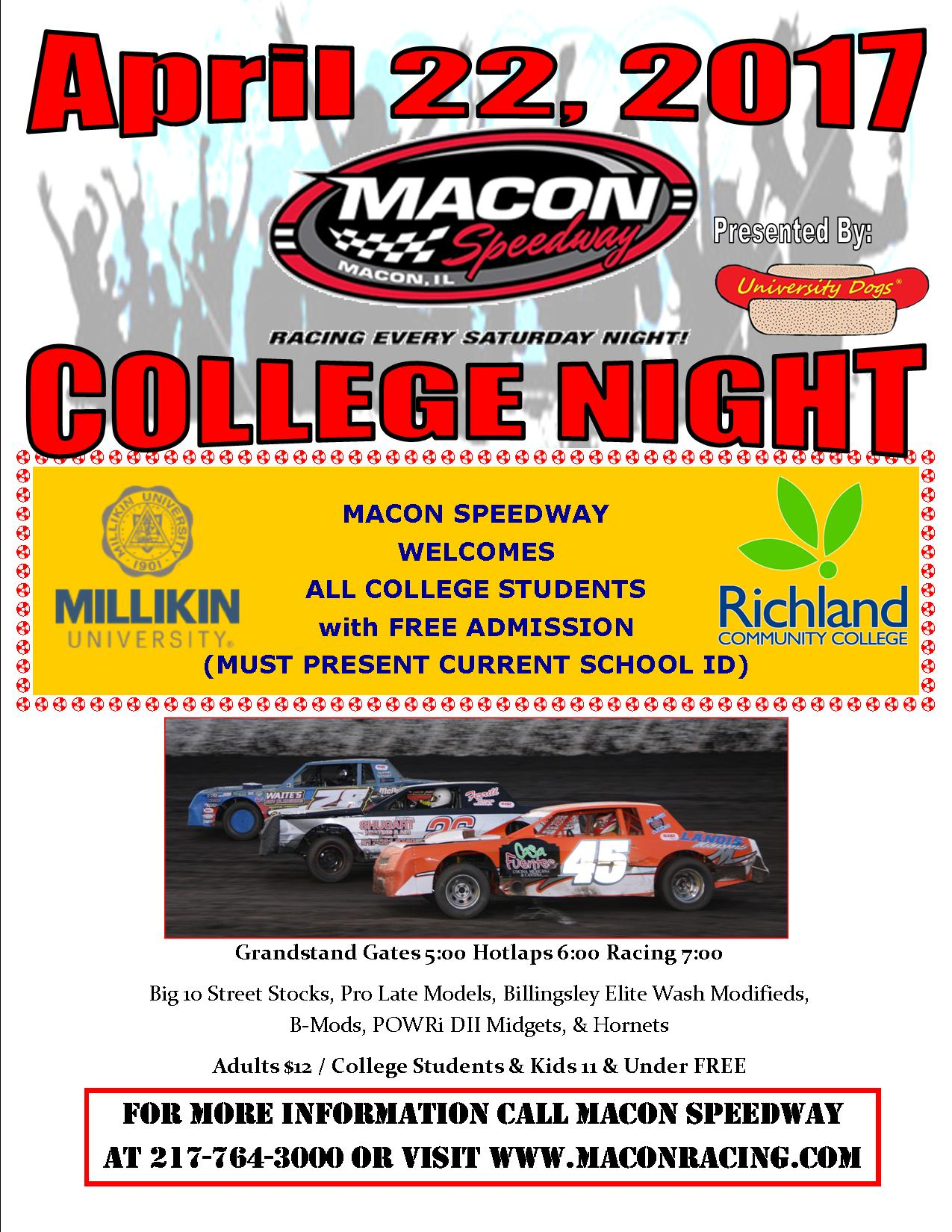 04-22-17 Macon Speedway College Night Flyer