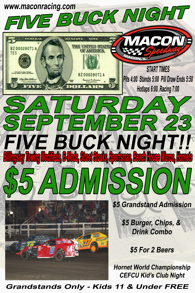 September 23 FIVE BUCK NIGHT